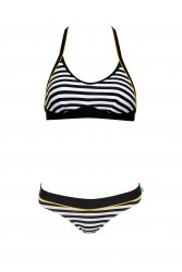 Nautical Stripe Halter Bikini A great summer print with a nautical stripe in white navy and pops of yellow trims This bikini has a halter style top featuring removable bra pads adjustable and multi position straps power mesh shelf bra and tie back The. Please Click the image for more information.