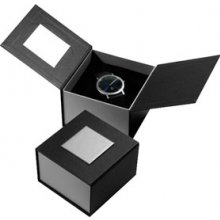 B28 Black and silver card gift box with silver metal top name plate that can be printed Black foam watch insert. Please Click the image for more information.