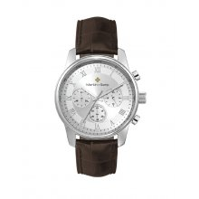 Sheene Silver plated alloy three eye Chronograph sports watch Seiko VD54 Chronograph movement Alloy 3 ATM 30 meter water resistant 41mm case Mat. Please Click the image for more information.