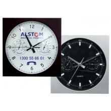 Wall Clock Sq Temp 255mm square wall clock with 3 hand movement and temperature and humidity dials Case in black or silver but other colours available . Please Click the image for more information.