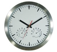 Wall Clock Aluminium Temperature Round 254mm 254mm10 round Brushed Aluminium cased wall clock with temperature and humidity dials and 3 hand movement C. Please Click the image for more information.