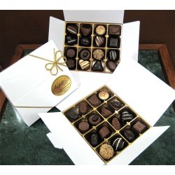 White gift box - 16 chocolates $34.50 Contains 16 assorted chocolates Please note that as every box is packed differently the precise assortment shall vary from the one pictured but be of equivalent qualityGif. Please Click the image for more information.