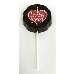 "Lollipop dark chocolate - ""I Love You"" $4.00. Solid dark chocolate with edible colour print Please Click the image for more information."