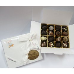 White Easter gift box - 16 chocolates assorted $34.50 PLEASE NOTE EASTER ITEMS ARE SUBJECT TO AVAILABILITY  ORDERING EARLY IS ADVISABLEContains 16 chocolates  Easter assortment in an Easter decorated white box  Please. Please Click the image for more information.