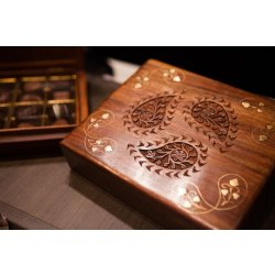 Timber Paisley Box - 16pc $69.00 Solid timber box handcarved with brass inlay containing sixteen chocolates Designed exclusively for Mayfield Chocolates Ha. Please Click the image for more information.