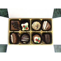 White Gift Box - 8 chocolates with Xmas Truffle Dark $17.50 Contains 8 assorted chocolates including Dark Christmas Truffle Please note that as every box is packed differently the precise assortment shall vary from the one pictured but be of equivalent quality . Please Click the image for more information.