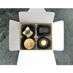 White Gift Box - 4  with Xmas Truffle Dark $9.50 Contains 1 Christmas truffle and 3 chocolates of your choice see The Menu or a ready made assortment P. Please Click the image for more information.