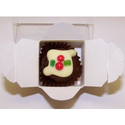 White box - 1 Xmas Truffle  Dark Chocolate $2.90 Contains fruity  alcoholic Christmas Truffle  like a Christmas Pudding with no flour but lots of chocolate Please Click the image for more information.