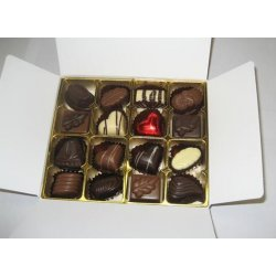 White box - 16 chocolates with 1 Red Heart $34.50 Contains 16 assorted chocolates including 1 milk chocolate caramel red heart Please note that as every box is packed differently the precise assortment shall vary from the one pictured but be of equivalent quality If. Please Click the image for more information.