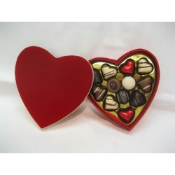 Deluxe red heart box - 12 chocolates $57.50 Contains 12 assorted chocolates The precise assortment shall vary from the one pictured but the number of heart shaped chocolates is always the sameEa. Please Click the image for more information.
