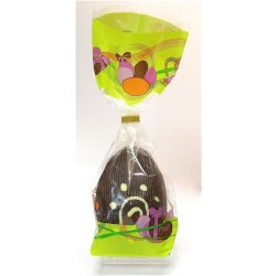 Hollow dark chocolate art egg 105mm high $9.90 Dark Chocolate with white chocolate designs Designs vary images are examples only Made using the same quality chocolate that we use in all our chocolates. Please Click the image for more information.