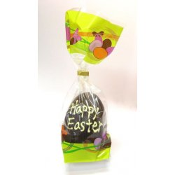 "Hollow dark chocolate ""Happy Easter"" egg 105mm high $9.90 Hollow dark chocolate egg with Happy Easter written in white chocolate Designs vary images are examples only Mad. Please Click the image for more information."