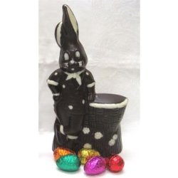 """Mr. Suave"" hollow bunny decorated -235mm- dark $27.50 Dark chocolate bunny decorated with white chocolate Please Click the image for more information."