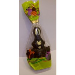 """Mr. Cuddles"" Easter egg rabbit - dark 120mm $9.90 Hollow dark chocolate bunny with white chocolate decoration Please Click the image for more information."