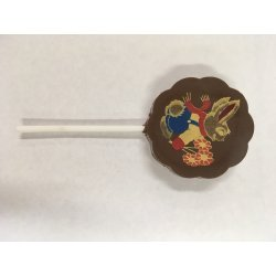 Lollipop milk chocolate - Bunny with Flowers $4.00 Solid milk chocolate with edible colour print Please Click the image for more information.