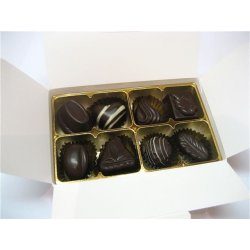 White gift box - 8 assorted dark chocolates $17.50 Contains 8 asorted dark chocolates Please note that as every box is packed differently the precise assortment shall vary from the one pictured but be of equivalent quality and valueGif. Please Click the image for more information.