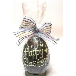 """Happy Easter"" hollow dark chocolate egg 165mm high $21.00 Dark Chocolate hollow egg with Happy Easter written in white chocolate Designs vary images are examples only Mad. Please Click the image for more information."