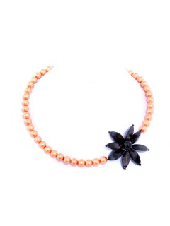 10421B PEARL NECKLACE  AVAILABLE IN BLACK CREAM APRICOT BLUE OR WHITE IT HAS A LOVELY BRACELET TO MATCHTHIS SET WILL MAKE A LOVELY ACCESSORY TO ANY OUTFIT Please Click the image for more information.