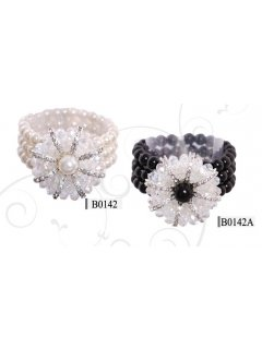 B0142 PEARL STRETCH BRACELET IN CREAM OR BLACK WITH DIAMONTE FLOWER AS CENTREPIECE Please Click the image for more information.
