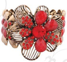 B0131 FASHION BRACELET  LARGE FLOWER CUFF AVAILABLE IN RED BLACK OR TOPAZ Please Click the image for more information.
