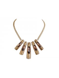 10523 GOLD OR SILVER NECKLACE WITH 5 STONES INSERTED AS FEATURE Please Click the image for more information.