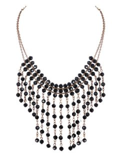 10542 THIS NECKLACE IS AVAILABLE IN GOLD OR SILVER IT HAS MULTIPLE CHAINS WITH BLACK BEADS AT INTERVALS Please Click the image for more information.
