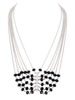 10543 THIS NECKLACE IS AVAILABLE IN GOLD OR SILVER IT HAS 6 FINE CHAINS CASCADING DOWN WITH BLACK BEADS  JOINING TOGETHER WITH A SINGLE DROP Please Click the image for more information.