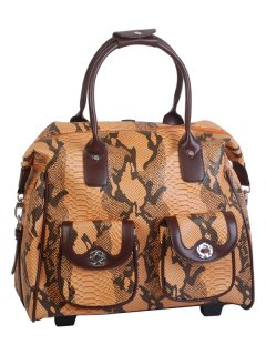 L21 OVERNIGHT BAGS IN SNAKESKIN PRINT  AVAILABLE IN BROWN OR BROWNORANGE TONES Please Click the image for more information.