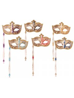 GW056 VENETIAN INSPIRED FACE MASKS WITH HANDLEAVAILABLE IN PURPLEBLACKAQUAPINKGOLD OR BLUE Please Click the image for more information.