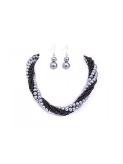 10652C TWISTED PEARL NECKLACE AND EARRING SET AVAILABLE IN GREYBLACK BLUEBLACK BLACK BLACKWHITE OR CHAMPAGNEBLACK Please Click the image for more information.