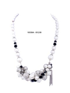 10339A PEARL NECKLACE  AVAILABLE IN CREAM GREY OR BLACK Please Click the image for more information.
