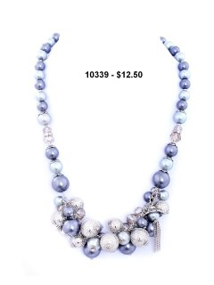 10339B PEARL NECKLACE AVAILABLE IN BLACK CREAM OR GREY Please Click the image for more information.