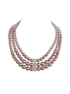 10548C MOCHA 3 STRAND PEARL CHOKER WITH DIAMONTE CENTREALSO AVAILABLE IN CREAM OR GREY Please Click the image for more information.