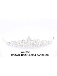 W0173 Crystal Crown Necklace  Earring Set Please Click the image for more information.