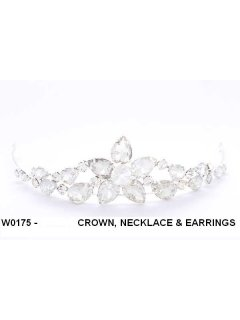 W0175 Crystal Crown Necklace  Earring Set Please Click the image for more information.