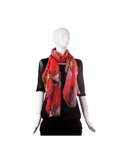 S134A SUMMER FLORAL SCARF AVAILABLE IN CORAL BLUE OR GREEN Please Click the image for more information.