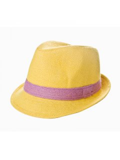 HA0200 SUMMER HATS  AVAILABLE IN YELLOW BLUE PINK OR ORANGE WITH CONTRASTING TRIM Please Click the image for more information.