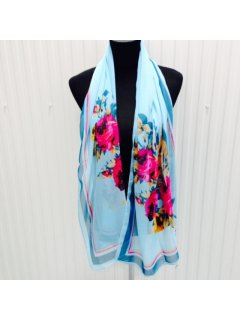 SS161 BLUE SCARF WITH FLORAL FEATURE Please Click the image for more information.