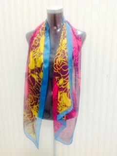 SS156A SCARF  PINK  BROWN FLOWERS WITH BLUE TRIM Please Click the image for more information.