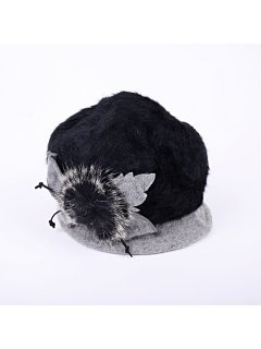 HA0217 BLACK  GREY ANGORA HAT Please Click the image for more information.