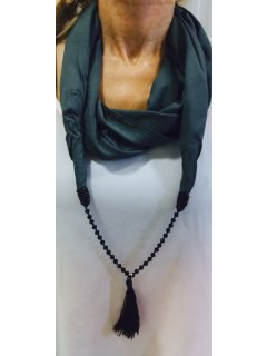 S181 GET THE LATEST LOOK THIS SEASON SCARF  BLACK SNOOD WITH BLACK BEADTASSLE NECKLACEALSO AVAILABLE IN  RED BLUE ORANGE GREY OR CORALIF A MIXED PACK OF 10 IS BOUGHT THE PRICE IS $750EACHIF MO. Please Click the image for more information.