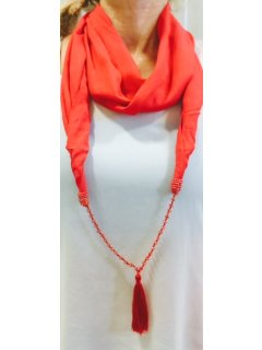 S181D GET THE LATEST FASHION TREND THIS SEASONCORAL RAYON SNOOD WITH RED BEADTASSLE NECKLACEBUY A PACK OF 10 PAY $750EAC. Please Click the image for more information.