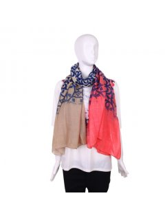S182B FASHION SCARF  TAUPEBEIGECORAL WITH FILIGREE PATTERN Please Click the image for more information.