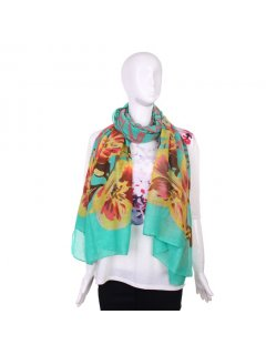 S184 FASHION SCARF  GREEN WITH LARGE FLOWER PRINT Please Click the image for more information.