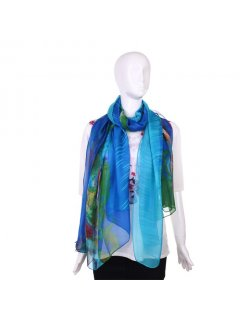 S187A FASHION SCARF  BLUE WITH FLORAL PRINT Please Click the image for more information.