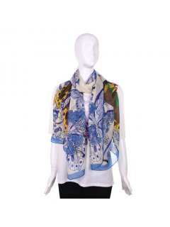 S188A FASHION SCARF  BLUE BUTTERFLY PRINT Please Click the image for more information.