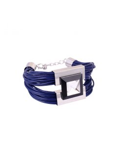 B0213B BLUE LEATHER BRACELET Please Click the image for more information.