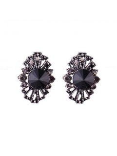 E0641 BLACK FILIGREE CLIP ON EARRINGS Please Click the image for more information.