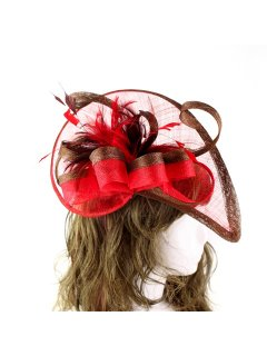 HA0225A CHOCOLATE  RED SINAMAY FASCINATOR ON CLIP Please Click the image for more information.