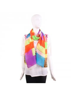 S207 SUMMER FASHION SCARF IN BLOCKED PATTERN WITH ANIMAL PRINT SQUARES Please Click the image for more information.